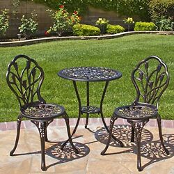 Patio Table and Chairs Bistro Iron Set Outdoor Furniture Garden Yard Deck Tulips