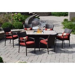 Patio Set with Fire Pit Propane Gas Table & Chairs Outdoor Dining Sets Clearance