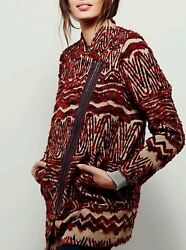 NWT FREE PEOPLE SzM VINTAGE-INSPIRED WOOL-BLEND FAUX FUR COAT JACKET RED COM$498