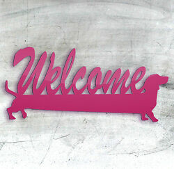Welcome Sausage Dog Dachshund Welcome Sign Wooden Laser Cut Pink Plastic Blanks