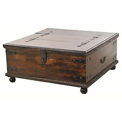 Lift Top Coffee Table Rustic Trunk with Storage Primitive Lodge Cabin Décor Wood