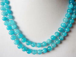 Natural 6mm South African Blue Topaz Gems Round Beads Necklace 34
