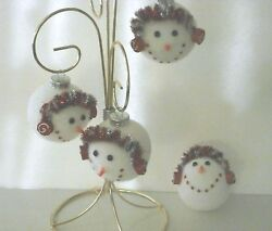 Snowman Glass Ball Ornaments with Glitter Earmuffs   set of 4