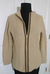 J CREW COLLECTION Cashmere Ribbed Back-Zip Sweater XS NWT $348 Flax (Beige)