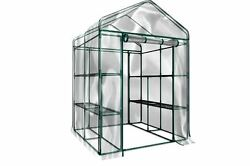 Greenhouse Walk In Clear Plastic Cover 12 Shelf Stands Herbs Flower Vegetables