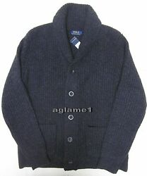 Polo Ralph Lauren Italian yarn Thick cashmere blend Shawl cardigan sweater L