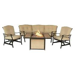 Outdoor Furniture Traditions 4 Pc Outdoor Lounge Set with Tile-top Fire Pit -...