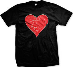 Red Distressed Heart Love Valentine#x27;s Day Mens T shirt $9.88