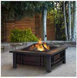 Chimnea Outdoor Fireplace Stone Fire Pit Modern Patio Set With Accessories Wood