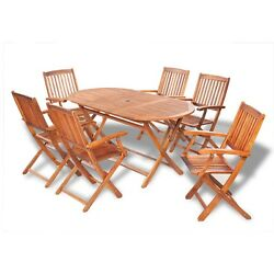 7 PC DINING SET WOOD GARDEN OUTDOOR PATIO FURNITURE OVAL TABLE 6 FOLDING CHAIRS