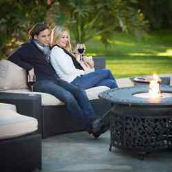 Gas Fire Pit Table LP Propane Round Outdoor Fireplace Heater Patio Deck Garden