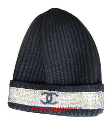 AUTHENTIC CHANEL CC Logo NAVY BLUE LUXURY KNIT HAT Thick Wool Silk Cashmere 2