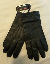 NWT Genuine Leather Luxury Wool Cashmere Womens Winter Driving Gloves Med Fownes