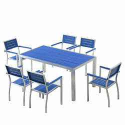 Patio Dining Set 7-piece Blue Outdoor Porch Backyard Poolside Patio Furniture