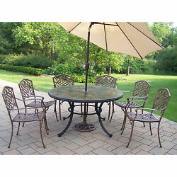 Dakota Outdoor Dining Set with Stone Top Table 6 Stackable Chairs and Beige Til