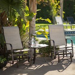 Weather Resistant 3-Piece Padded Sling Chair Patio Glider Set with Side Table