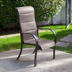 Set of 4- Stackable Outdoor Patio Dining Chairs with Bronze Padded Sling Seat an