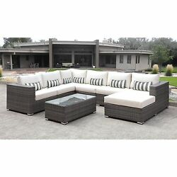 Solis Lusso 7-piece Outdoor Sectional Grey Rattan Patio with White Cushions and
