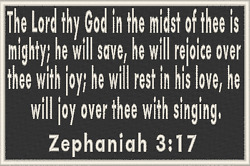 ZEPHANIAH 3:17 Iron-On Patch Christian Morale Military Emblem