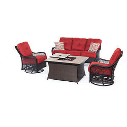 Hanover Outdoor Orleans Autumn Berry 4-piece Woven Lounge Set with Fire Pit Tabl