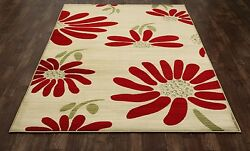 Art Carpet Antigua Spring Daisy CreamRed IndoorOutdoor Area Rug