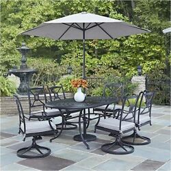 Dining Patio 7 Piece Diner Set Garden Backyard Deck in Charcoal Bowery Hill
