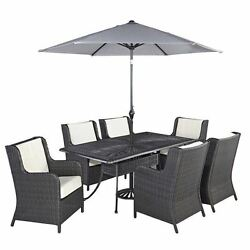 Full 8 Piece Patio Dining Garden Set with Umbrella in Charcoal Bowery Hill