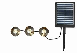 String Panel Solar Deck Path LED 3 Light Adjustable Lamp Head Black Plastic