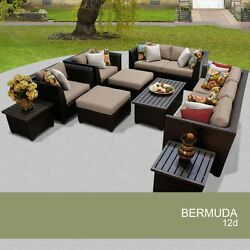 Luxury FULL 12 Piece Outdoor Wicker Patio Furniture Set Living Out 12d Bermuda