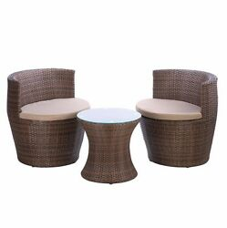 Brown Patio Set Trio Outdoor Furniture Table Piece Garden 2 Chairs Dining Bistro