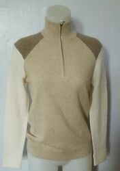 RALPH LAUREN GOLF 100% CASHMERE CREAMOAT HALF ZIPPER SWEATER SZE S ITALIAN YARN