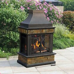 Outdoor Fireplace Kits Wood Burning Fire Pit Patio Stove Chimney Backyard Slate
