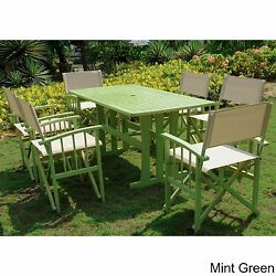 Outdoor Dining Set 7-piece Green Patio Furniture Porch Backyard Barbecue BBQ