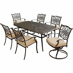 Outdoor Dining Set Furniture Garden Table Chairs Deck Patio Coushin Metal 7-PC