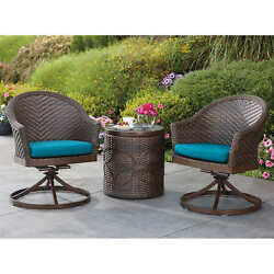 Cologne 3-piece Cafe Swivel Bistro Patio Garden Set All-Weather