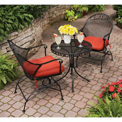 3 Piece Wrought Iron Outdoor Bistro Set 2 Patio Chairs Cushion Mildew Resistant