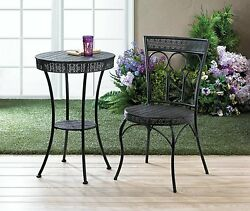 Black Metal Table & Chairs Patio Furniture Set Intricate Cutouts 3PC NIB Exotic