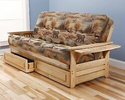 Futon Sofa Bed with Storage Frame and Mattress Included Rustic Lodge Cabin Decor