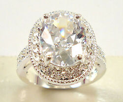 Women 925 Silver Jewelry Oval Cut White Sapphire Gorgeous Wedding Ring Size 6-10