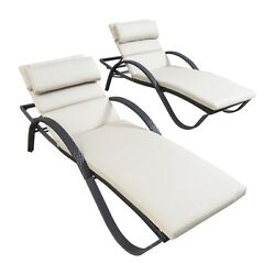 Chaise Lounge Chairs Weather-Resistant Outdoor Indoor  Set Loveseat Cushions