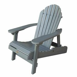 Gray Coastal Teak Plastic Folding Patio Adirondack Chair Home Garden Furniture