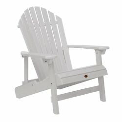 White Plastic Folding Patio Adirondack Chair Slat Home Living Garden Furniture