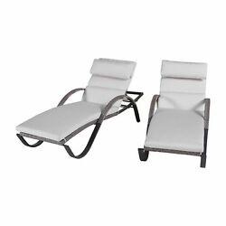 Durable 2-Count Wicker Stackable Patio Chaise Lounge Chairs Indoor Outdoor Porch