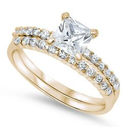 Yellow Gold Plt Cushion Cut Solitaire Wedding Set .925 Sterling Silver Size 5-10