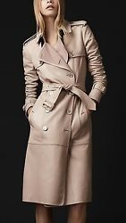 $6000 RUNWAY Burberry Prorsum 6 8 40 Nude Leather Cashmere Trench Coat Women A