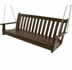 NEW 60 in.Vineyard Mahogany Patio Swing Outdoor Furniture Canopy Porch Hammock
