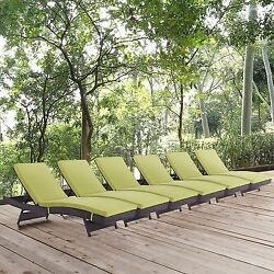 Modway Convene Wicker 6 Piece Outdoor Chaise Lounge Adjustable Patio Chair