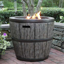 Outdoor Gas Fire Pit Propane Rustic Wine Barrel Kit Glass Table Top Lid Patio