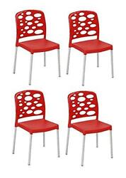Tensai Bubble Chair - Durable Plastic in Red With Aluminum Legs - Set of 4
