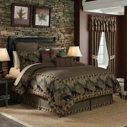 NEW Croscill Home Queen Comforter Bed Set 4 Piece GRAND LAKE Cabin Bear Hunting
